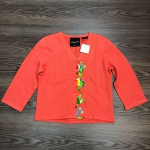 NWT Michael Simon Frog Cardigan Size Small